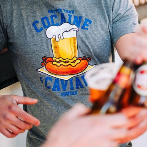 PGWEAR T-shirt hommes dans son ouvrage Cocaine /& Caviar NOIR NAVY GRIS Ultras bière au Football
