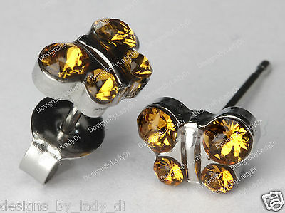 Butterfly Stud Earrings Yellow November Crystal Studex Sensitive Stainless Steel