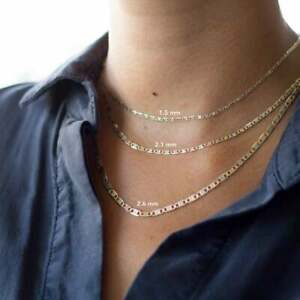 14K-Solid-Yellow-Rose-White-Tri-color-Gold-Valentino-Chain-Necklace