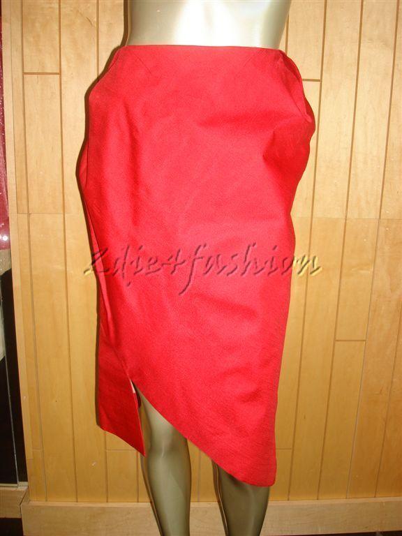 1480 New RM ROLAND MOURET Silk Cesar Cherry Red Silk Angled Cut Skirt 10