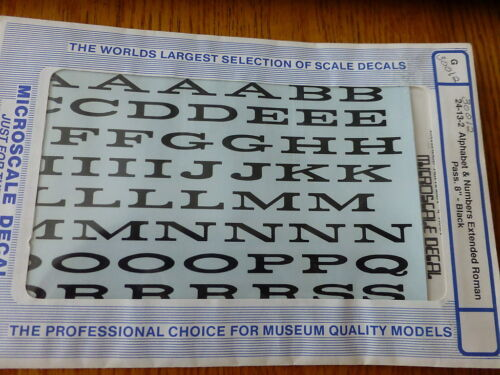 Microscale Decal #30012 Alphabet & Numbers Extended Roman Pass 8 G Scale  Black