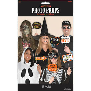 Details about 13 x Halloween Photo Booth Face Photo Frame Props Party  Activity Ideas