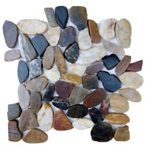 multicolor flat pebble stone floor wall tile spa shower