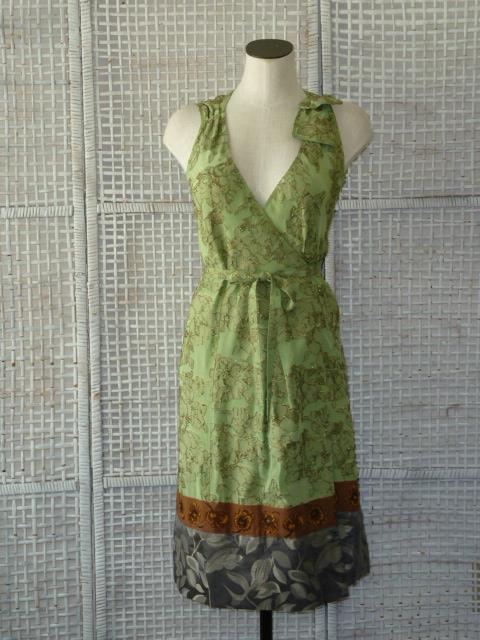 Designer CLEMENTS RIBEIRO Art-to-Wear Silk+Metallic Wrap DressUK8ITALY40SK