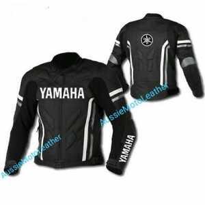 YAMAHA-BLACK-MOTOGP-MOTORBIKE-MOTORCYCLE-COWHIDE-LEATHER-BIKERS-SPORTS-JACKET
