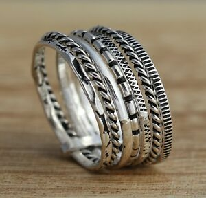 Solid-925-Sterling-Silver-Oxidized-11mm-Band-Ring-7-Stacking-Rings-Various-Sizes