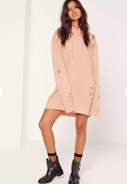 Missguided ripped hooded sweater dress nude size 4 us