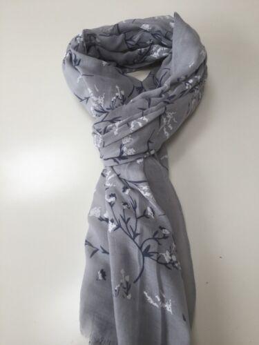 Ladies Long Winter Flower Pattern Print Shawl Scarf Wrap