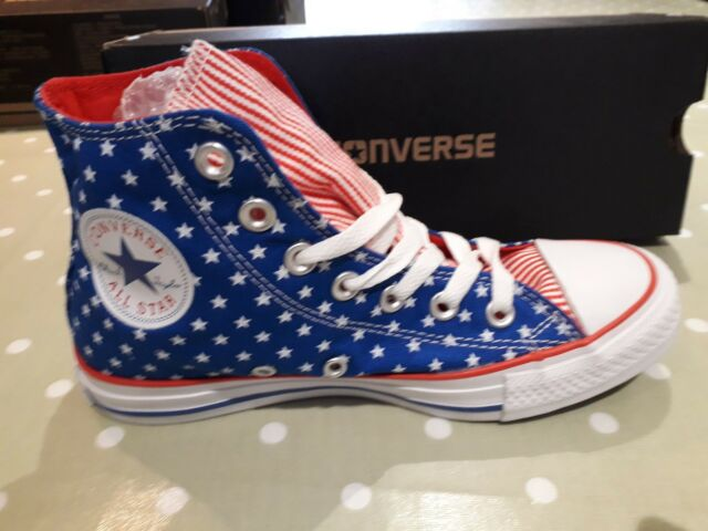 0bce7ea7660c Converse CTAS Hi Tops Blue White Red Stars   Stripes 145527c Size UK ...