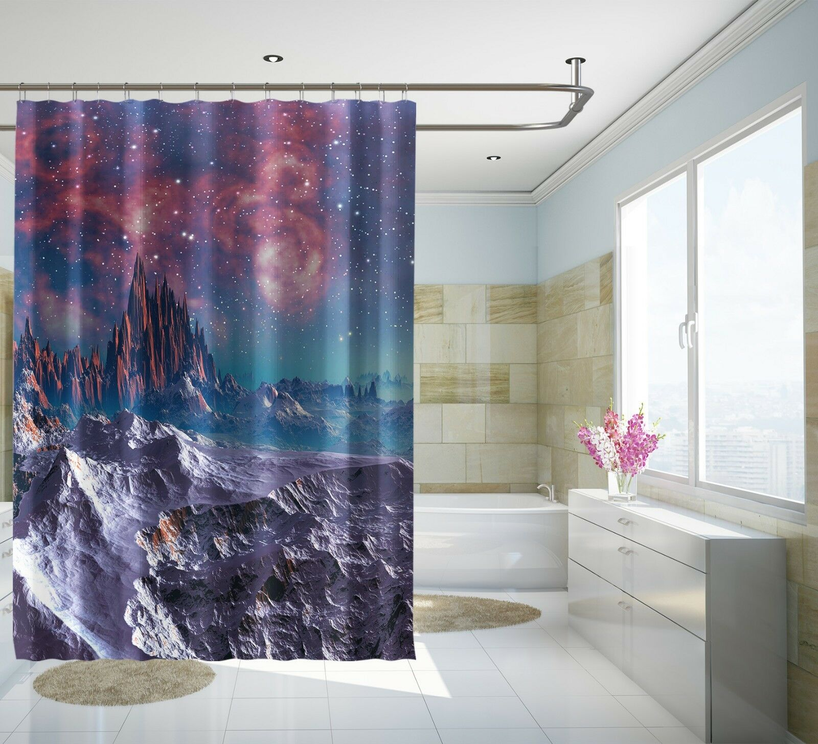 3D Lila Berg 534 Duschvorhang Wasserdicht Faser Bad Daheim Windows Windows Windows Toilette DE | Genialität  524302