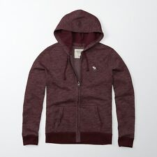 New Abercrombie & Fitch Mens Icon Full Zip Logo Burgundy Sweatshirt Hoodie Small