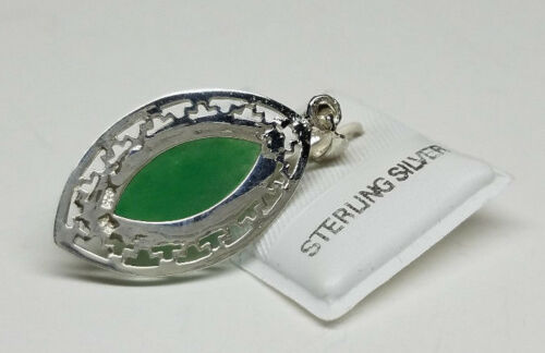 Natural Green JADE BIG Oval LUCKY Charm Pendant Necklace /& 925 STERLING SILVER