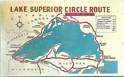 Postcard MI MN WI Lake Superior Circle Route Map R56