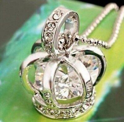 EN4 Silver Plated Women Girl Necklace Rhinestone Diamond Crown Long Necklace :)