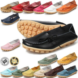 UK-9-5-Women-Flats-Loafers-Leather-Shoes-Mocassins-Pumps-Ladies-Casual-16-Colors