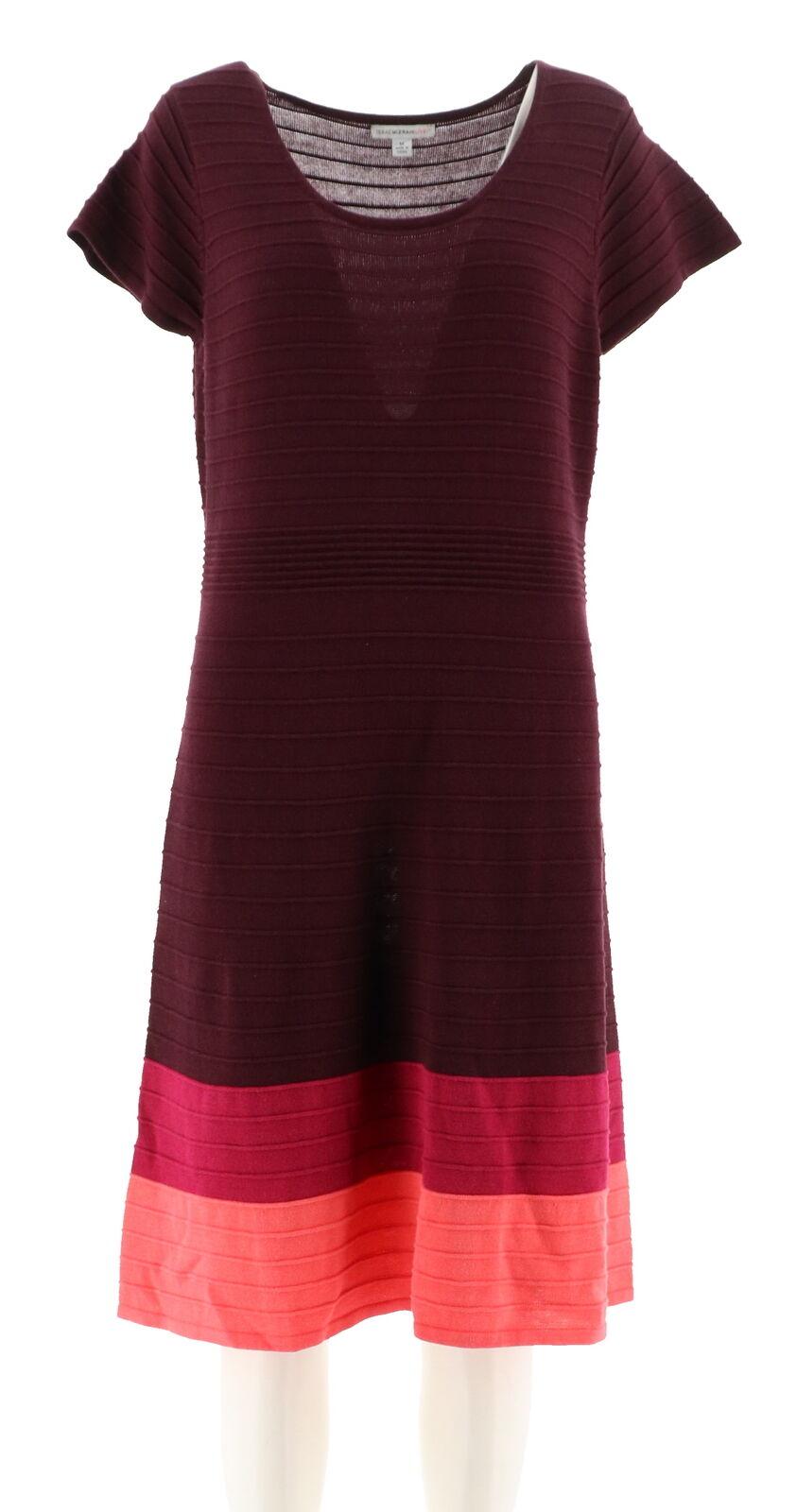 Isaac Mizrahi Strukturiert Farbblock Pullover Kleid Tief Tief Tief Burgunderrot GR. M NEU b5a23a