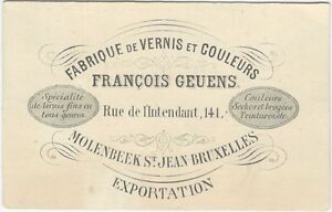 1880s Belgian Varnish & Paint Colors Manufacturer Trade Card
