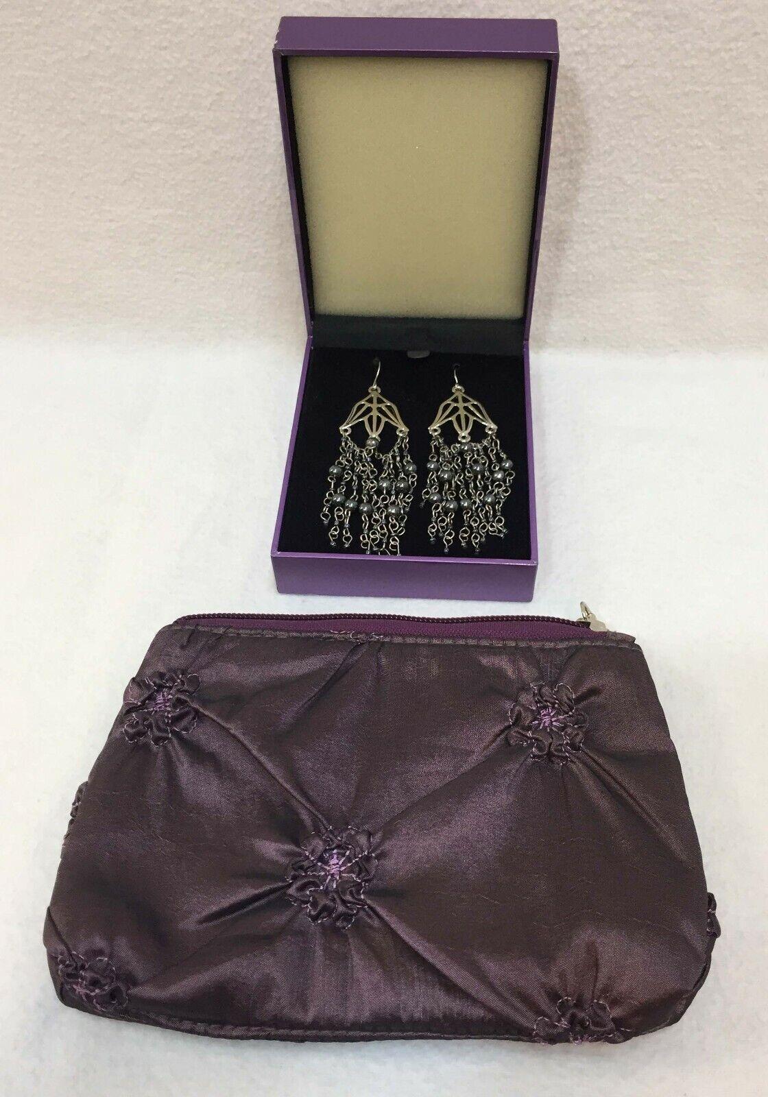 Suzanne Somers Silvertone Drop Chain Dangles Purple Silk Clutch w/ Flowerets Zip