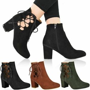 WOMENS-LADIES-LOW-BLOCK-HEEL-CHELSEA-ANKLE-BOOTS-CUT-OUT-LACE-UP-SHOES-NEW-SIZE
