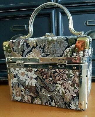 Delill Floral Tapestry Box Purse/Train Case Handbag with Gold Metal Trim