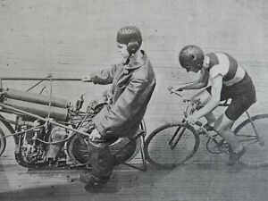 Motorcycling-in-Football-Helmets-Protective-Gear-Bicycle-1903-old-print