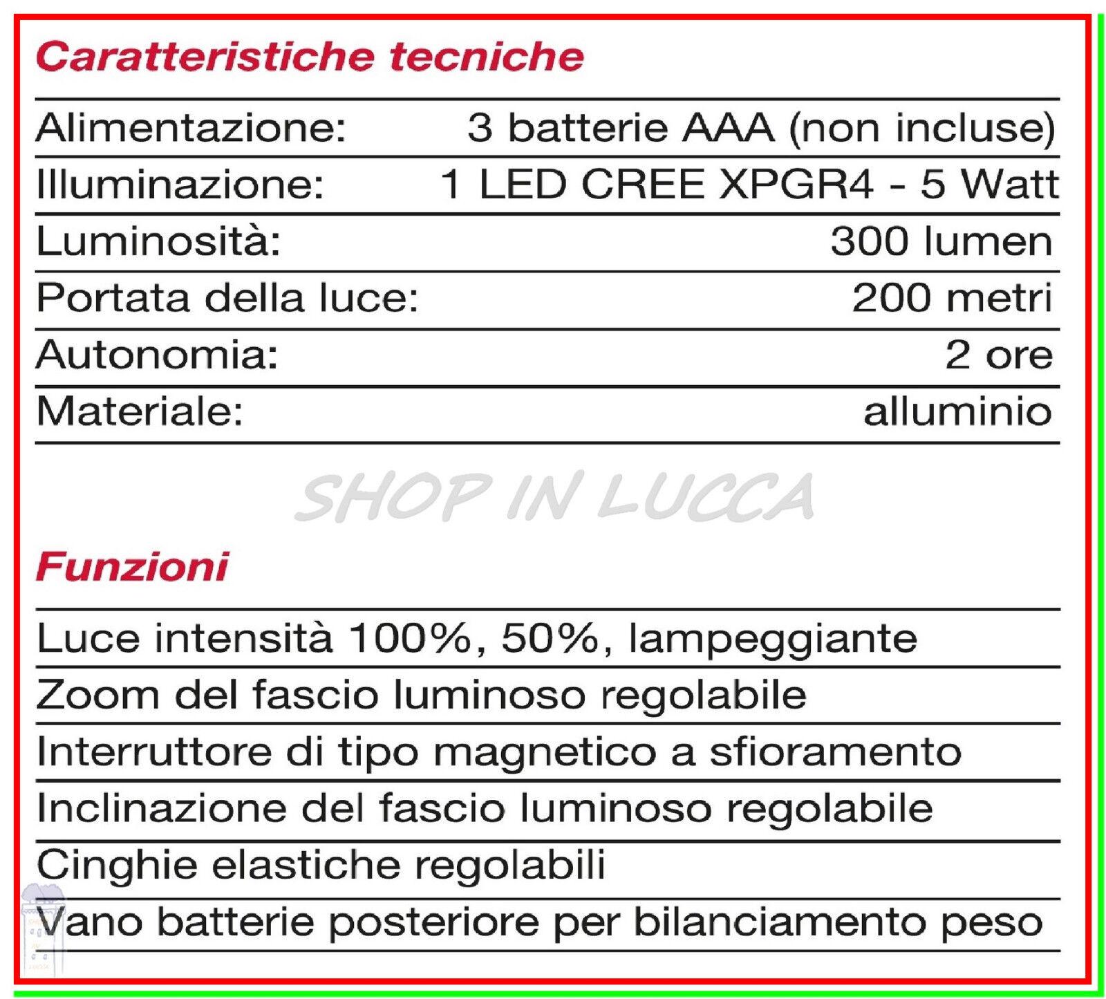 Torcia Lampada Frontale da Testa Led 5w CFG CFG CFG Caccia Pesca Escursioni Speleologo e92924