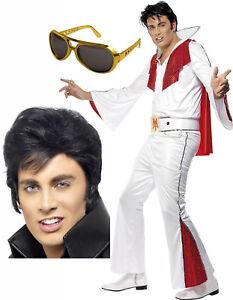 Homme-Adulte-Elvis-Presley-50-s-60-Rouge-Blanc-Costume-Deguisement-Tenue-Perruque-Lunettes