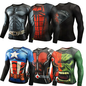 Hot-Men-039-s-Compression-Superhero-Tops-T-shirts-Gym-Fitness-Sports-Shirts