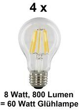 4 x 8 Watt FILAMENT / FADEN-LED Birne E27, Klarglas Warmweiß ~60 Watt Glühbirne