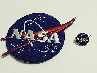 Original NASA Vector Logo Patch And Pin Set Space Program Made In USA