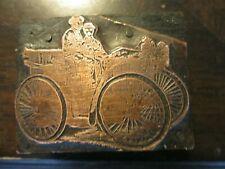 Vintage Printing Letterpress Printers Block Horseless Carriage Car Copper Face