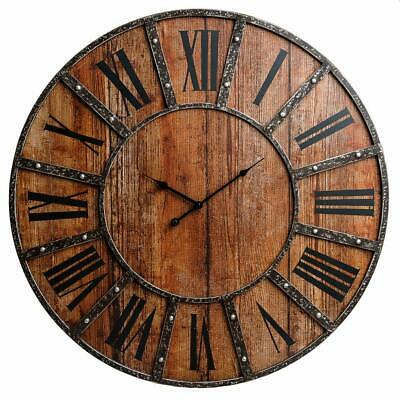 Vintage Farmhouse Wall Clock Rustic Antique Style Large 30 Oversized Wood Plank Ebay