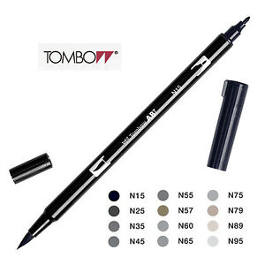 Tombow-Dual-Brush-Pen-Black-and-Grays-Choice-of-12-colours