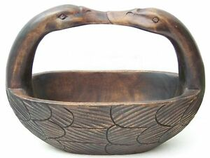 Goose Necks Handle Wood Carved Bowl
