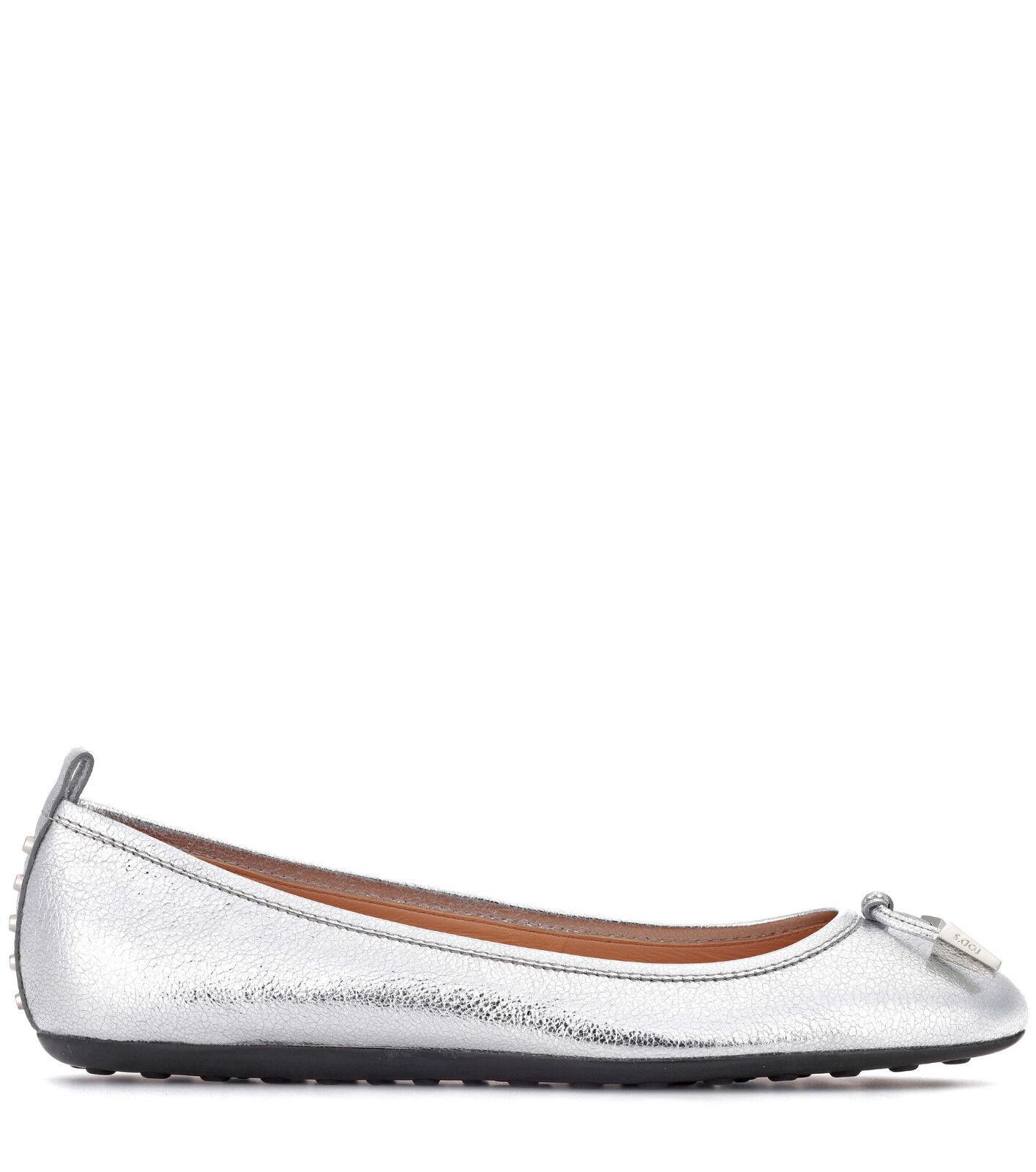 Tod's 220 Silver Tone Metallic Leather Ballerina Ballerina Ballerina Flats 38   US 8 9d6f16
