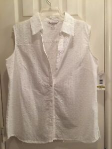160d753621987 NWT Allison Daley White Eyelet Shirt Top button front sleeveless 100 ...
