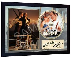 Titanic-Leonardo-DiCaprio-Kate-Winslet-Movie-SIGNED-FRAMED-PHOTO-amp-CD-Disc