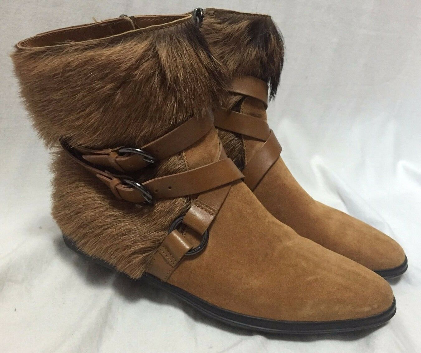 Tod's Fashion Harness Fur Ankle Boots Women's 7 37 Tan Suede Belted shoes