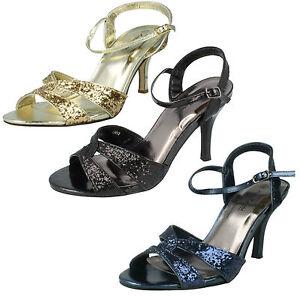 Ladies Anne Michelle Sandalo argento con tacco slim Cinturino alla Caviglia Stile l3413