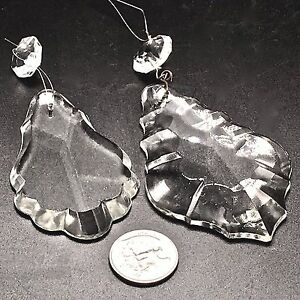 Lot of 2 Vintage Pendalogue Leaf Bevel Edge Crystal Glass Prism Lamp Chandelier