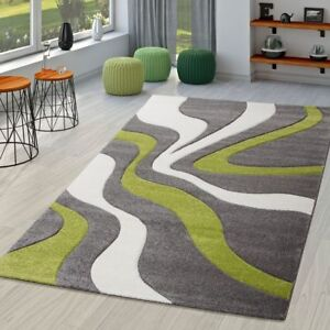 Teppich Grau Grün Weiß Wohnzimmer Teppiche Modern mit ...