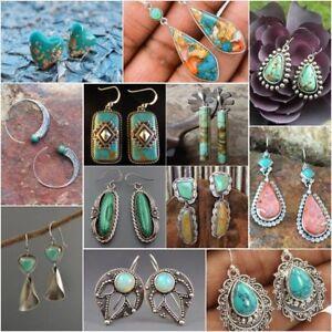 Vintage-925-Sterling-Silver-Turquoise-Ear-Stud-Hoop-Dangle-Earrings-Wedding-Gift