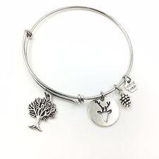 Life Tree Round Plaque Deer Adjustable Wire Bangle Bracelet 2 Loop Silver