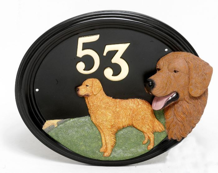 Golden Retriever - Dog Hand Painted House Sign   Plaque with Number