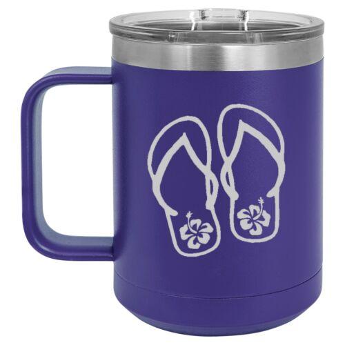 15oz Tumbler Coffee Mug Handle /& Lid Travel Cup Insulated Flip Flops Hibiscus