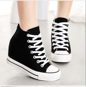 Nouveau-Debardeur-Haut-Compense-Haut-Toile-Fashion-Lacets-caches-Baskets-Chaussures-De-Sport