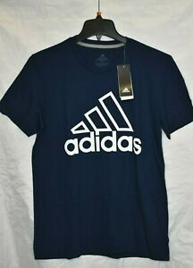adidas-Men-039-s-White-Outlined-Logo-The-Go-To-Performance-Tee-Navy