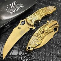 Masters 4.75 Closed Folding Rescue Pocket Knife Dragon Flame Handle [gold]