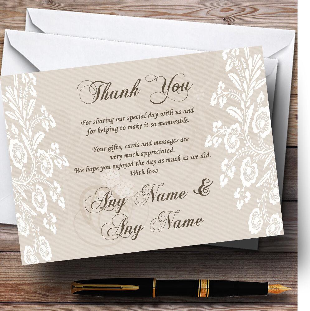 Cartes personnalisé de remercieHommes t de mariage personnalisé Cartes Chic Beige dentelle Vintage d13e93