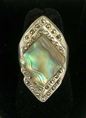 Vintage Abalone Sterling Ring Handmade 16.2 Grams